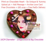 Print on Chocolate Heart - Unique Love theme chocolate + Love Card