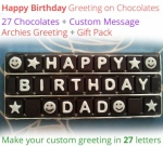 Birthday Greeting Message on 27 Chocolates