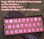 Happy Birthday Message 3 lines on pink chocolates
