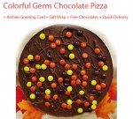 Gems & Nuts Chocolate Pizza with Birthday Card