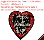 Happy valentine's day dark chocolate heart with Love card