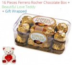 16 Pieces Ferrero Rocher Chocolates Valentines Spl + Teddy N Love Card