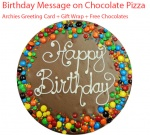 Custom Message on Chocolate Pizza, Birthday Spl