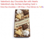 Valentine's Chocolate Bar with Hearts Decoration & Love Card