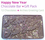 Happy New Year Chocolate Bar with 12 Chocolates & More
