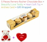 5 Pieces Ferrero Rochers Chocolates - Valentines Spl + Love Teddy & Heart