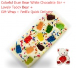Yummy & Lovely White Chocolate Bar with Gum Bears & Teddy Bear Soft Toy