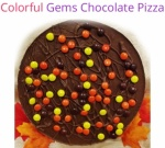 Gems & Nuts Chocolate Pizza