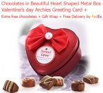 4 Truffles in Beautiful Heart Shaped Metal Chocolate Box with Love Card