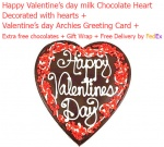 Happy valentine's day milk chocolate heart with love card