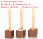 6 Chocolate Spoons with Birthday Greeting card