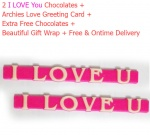 2 I love U Pink Chocolate Gifts with Archies Love Card