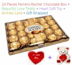 24 Pieces Ferrero Rochers Chocolates - Valentines Spl + Love Teddy, Card & Heart