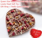 Queen Size Chocolate Heart with Heart Soft Toy