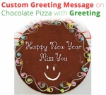 Custom Greeting Message on Chocolate Pizza
