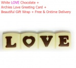 White Love Chocolate with Archies Love Card