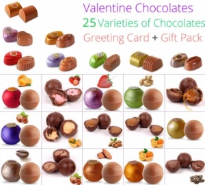 Valentine Chocolate Collection 25 Varieties of Chocolates with Love Card
