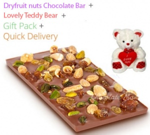 Dry Fruit & Nuts Chocolate Bar - Valentine's Spl with Teddy
