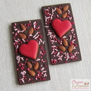 Twin Heart Chocolate Bars with Almonds
