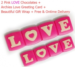 2 Pink Love Chocolate with Archies Love Card