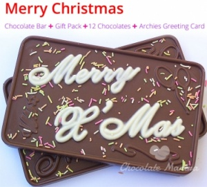 Merry Christmas Chocolate Bar with 12 Chocolates & More