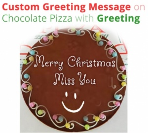 Custom message on Chocolate Pizza - Christmas spl
