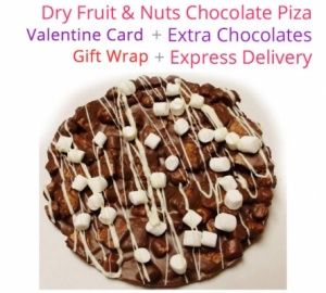 Dry fruit & nuts chocolate Pizza - Valentine Special with Love Card