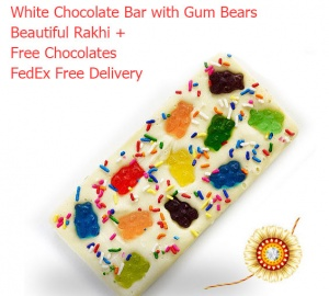 Rakhi with White Chocolate Bar Bear Gums