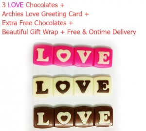 3 Love Chocolates with Archies Love Card