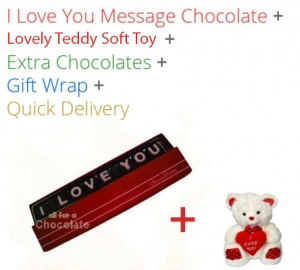 I love you Message Single Line Chocolate with Teddy