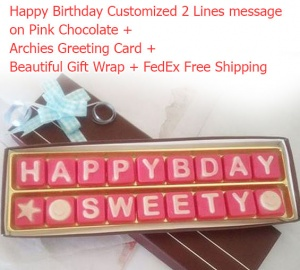 Happy Birthday Message on pink chocolates