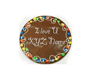 Valentine Message on Chocolate Pizza with Love Card