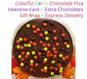 Gems Chocolate Pizza - Valentines Special with Love card