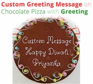 Diwali Greeting on Chocolate Pizza