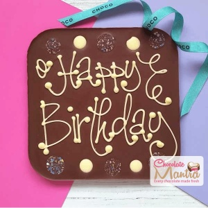 Happy Birthday Message on Square Chocolate
