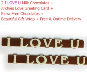 2 I love U Milk Chocolate Gifts with Archies Love Card