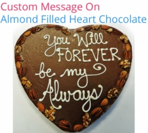 Custom message on Chocolate Heart
