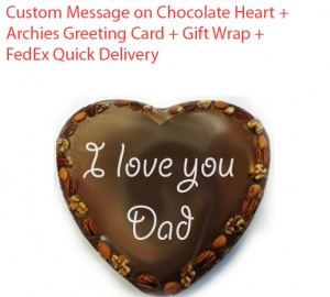 Custom message on Chocolate Heart- Father's day special