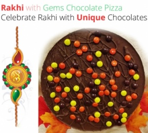 Rakhi with Gems Chocolate Pizza