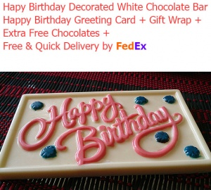 Happy Birthday Decorated White Chocolate Bar