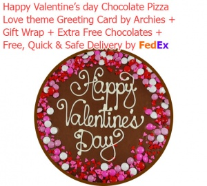 Valentine's Day Special Chocolate Pizza with Love Card