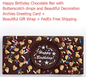 Happy Birthday Chocolate Bar with Butterscotch drops