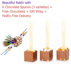 Rakhi with Chocolate Spoons