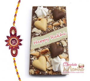Happy Rakhi message on Hearts Decorated Almond Chocolate Bar