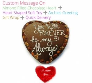 Custom message on Chocolate Heart Valentines Spl + With Card & Heart
