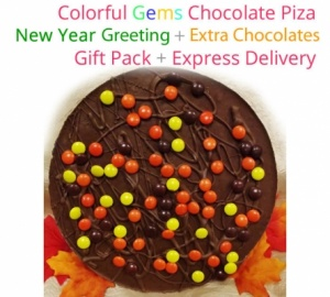 Gems Chocolate Pizza - New Year Special